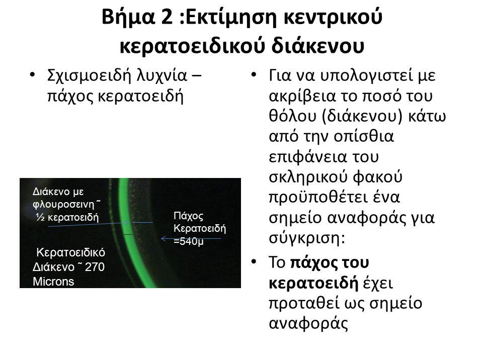 Βήμα 2 :Εκτίμηση κεντρικού κερατοειδικού διάκενου