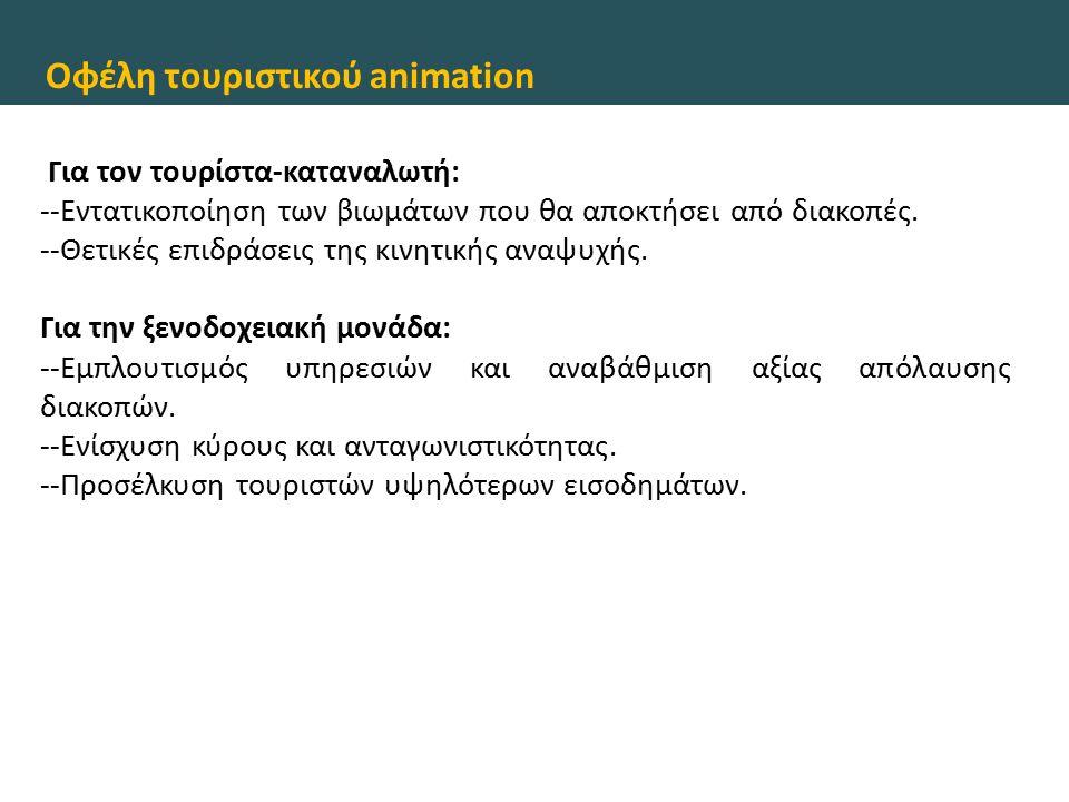 Οφέλη τουριστικού animation