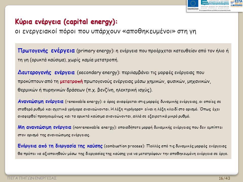 Κύρια ενέργεια (capital energy):