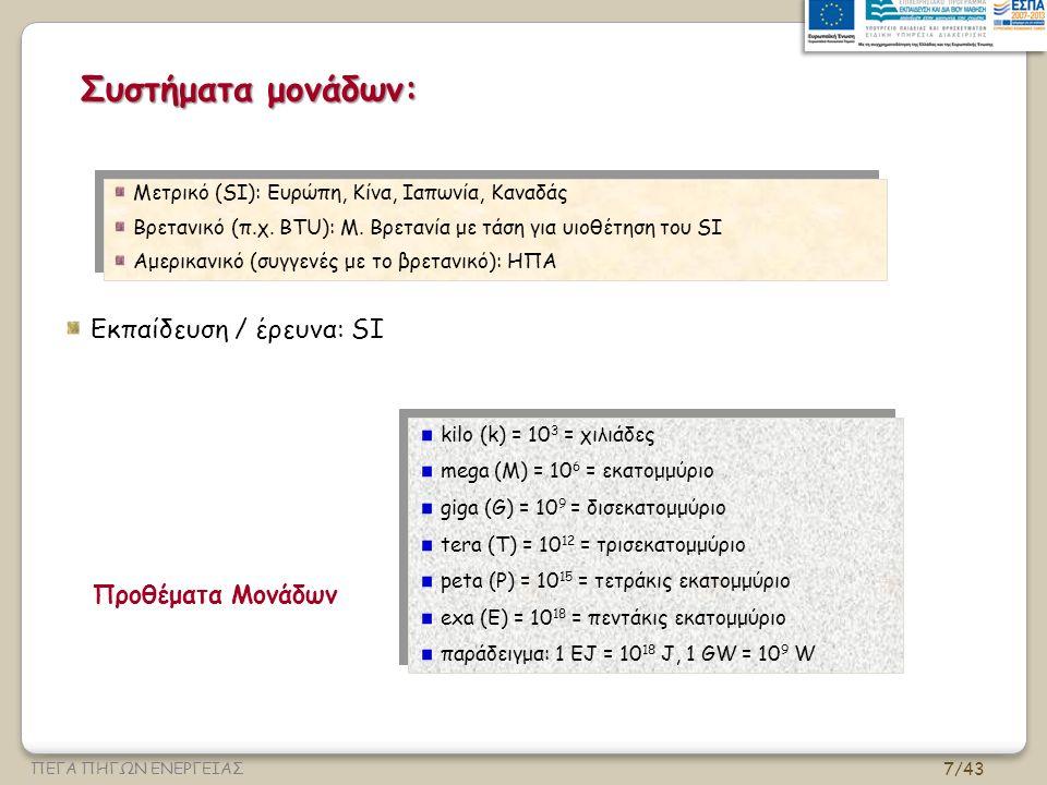 Συστήματα μονάδων: Εκπαίδευση / έρευνα: SI Προθέματα Μονάδων