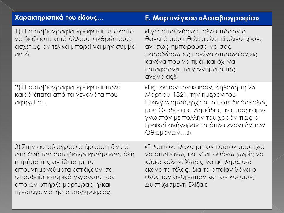 Ε. Μαρτινέγκου «Αυτοβιογραφία»