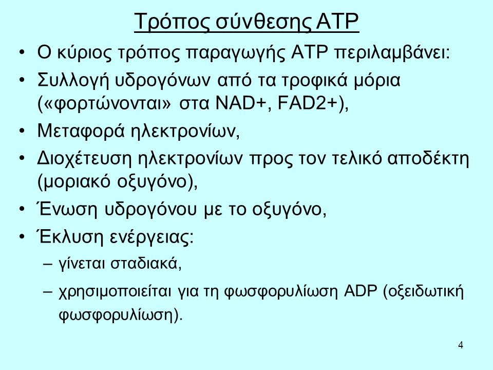Τρόπος σύνθεσης ATP O κύριος τρόπος παραγωγής ΑΤΡ περιλαμβάνει: