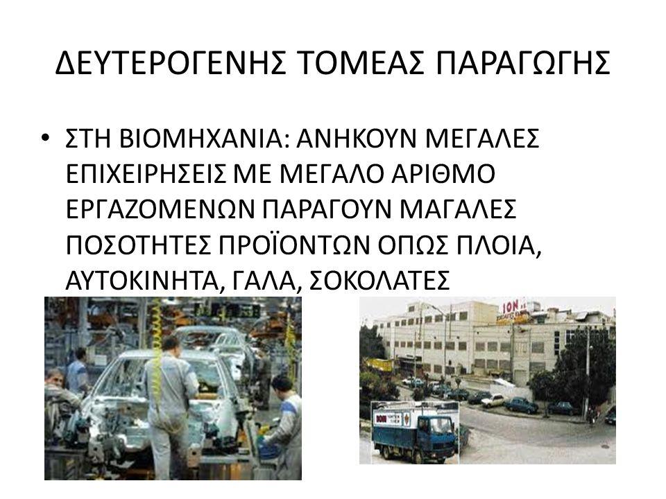 ΔΕΥΤΕΡΟΓΕΝΗΣ ΤΟΜΕΑΣ ΠΑΡΑΓΩΓΗΣ