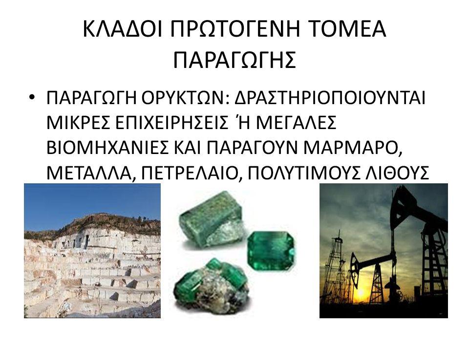 ΚΛΑΔΟΙ ΠΡΩΤΟΓΕΝΗ ΤΟΜΕΑ ΠΑΡΑΓΩΓΗΣ