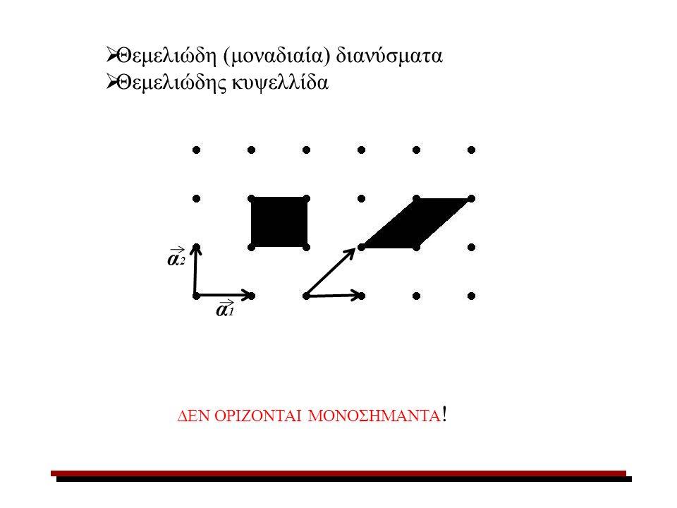 Θεμελιώδη (μοναδιαία) διανύσματα Θεμελιώδης κυψελλίδα