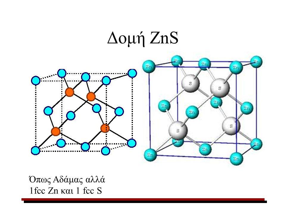 Δομή ZnS Όπως Αδάμας αλλά 1fcc Zn και 1 fcc S