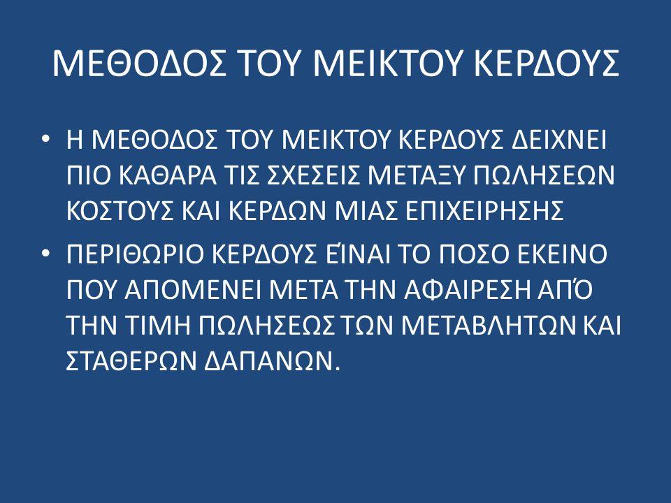 ΜΕΘΟΔΟΣ ΤΟΥ ΜΕΙΚΤΟΥ ΚΕΡΔΟΥΣ