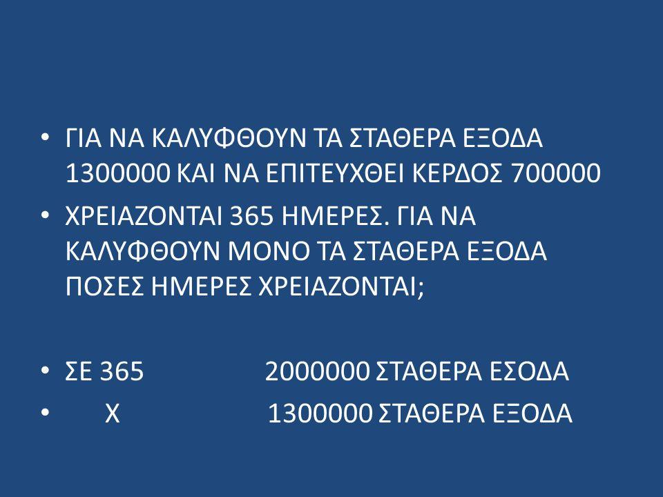 ΓΙΑ ΝΑ ΚΑΛΥΦΘΟΥΝ ΤΑ ΣΤΑΘΕΡΑ ΕΞΟΔΑ 1300000 ΚΑΙ ΝΑ ΕΠΙΤΕΥΧΘΕΙ ΚΕΡΔΟΣ 700000