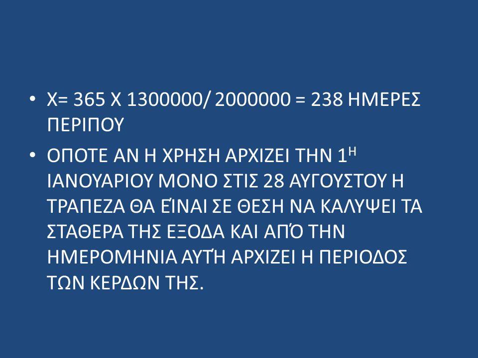 Χ= 365 Χ 1300000/ 2000000 = 238 ΗΜΕΡΕΣ ΠΕΡΙΠΟΥ