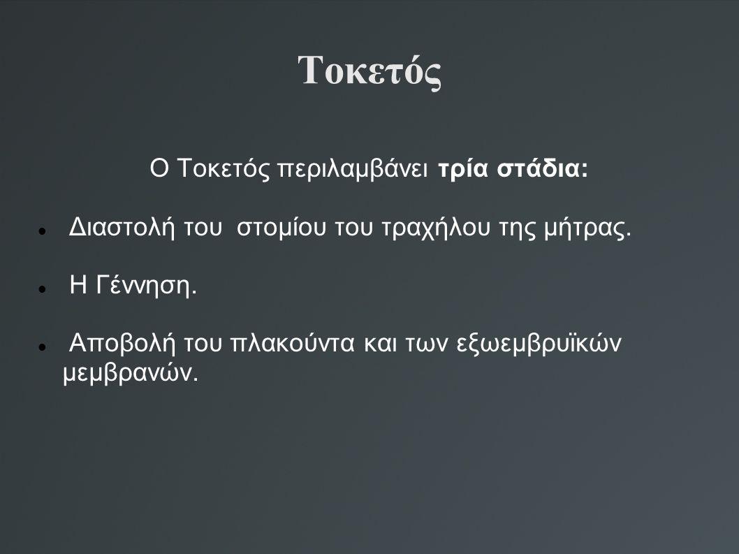 Ο Τοκετός περιλαμβάνει τρία στάδια: