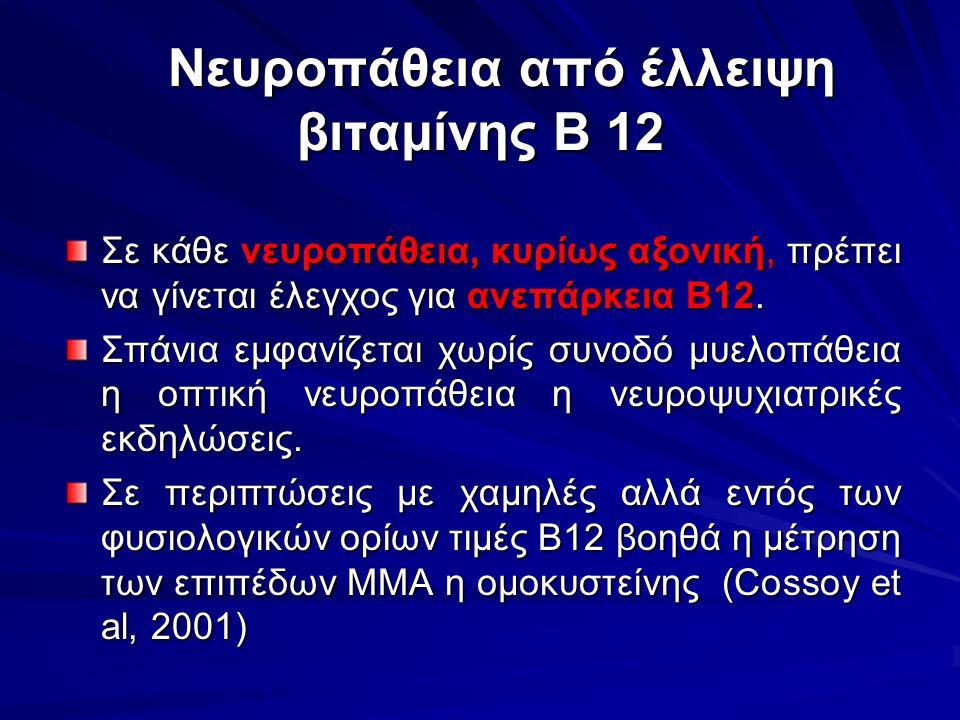 Νευροπάθεια από έλλειψη βιταμίνης Β 12