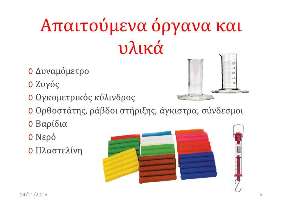Απαιτούμενα όργανα και υλικά