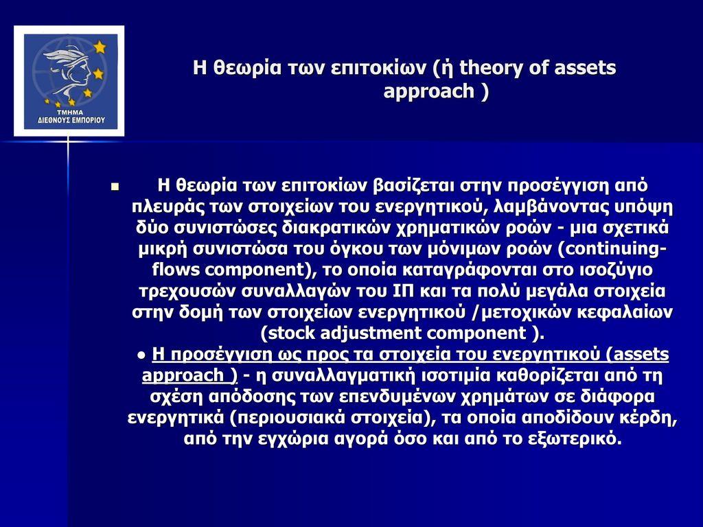 Η θεωρία των επιτοκίων (ή theory of assets approach )