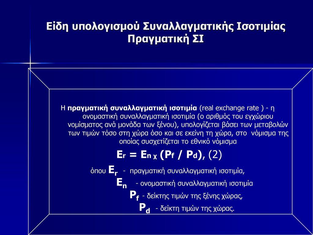 Είδη υπολογισμού Συναλλαγματικής Ισοτιμίας Πραγματική ΣΙ