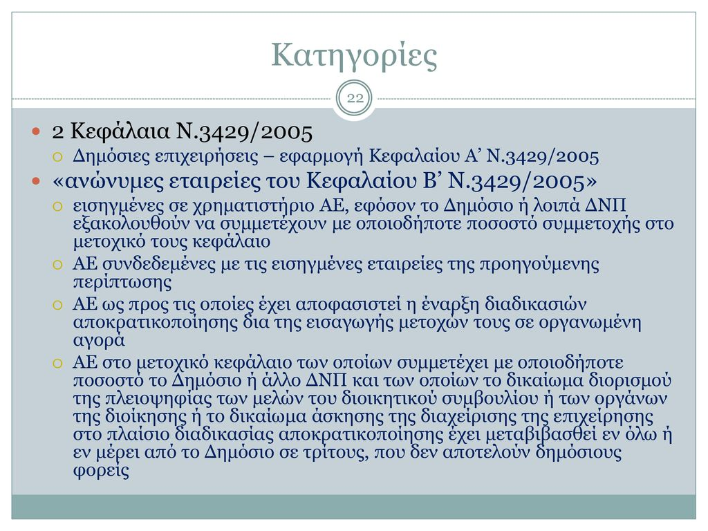 Ορισμός Ν.3429/2005