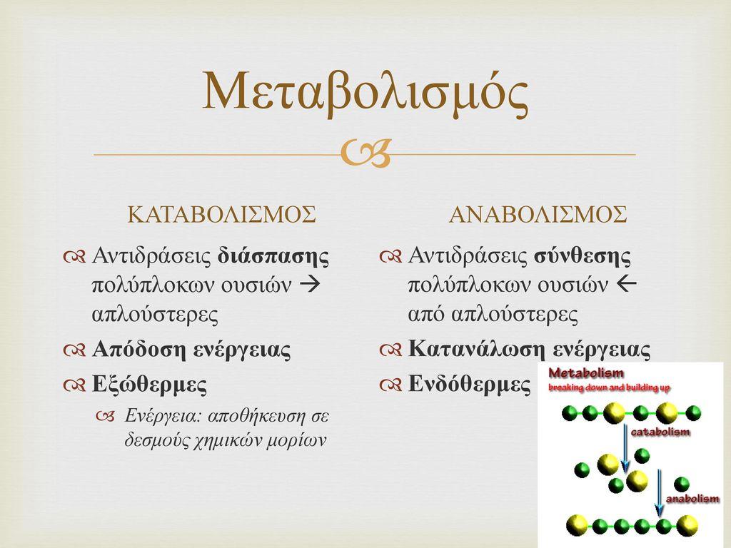 Μεταβολισμός ΚΑΤΑΒΟΛΙΣΜΟΣ ΑΝΑΒΟΛΙΣΜΟΣ
