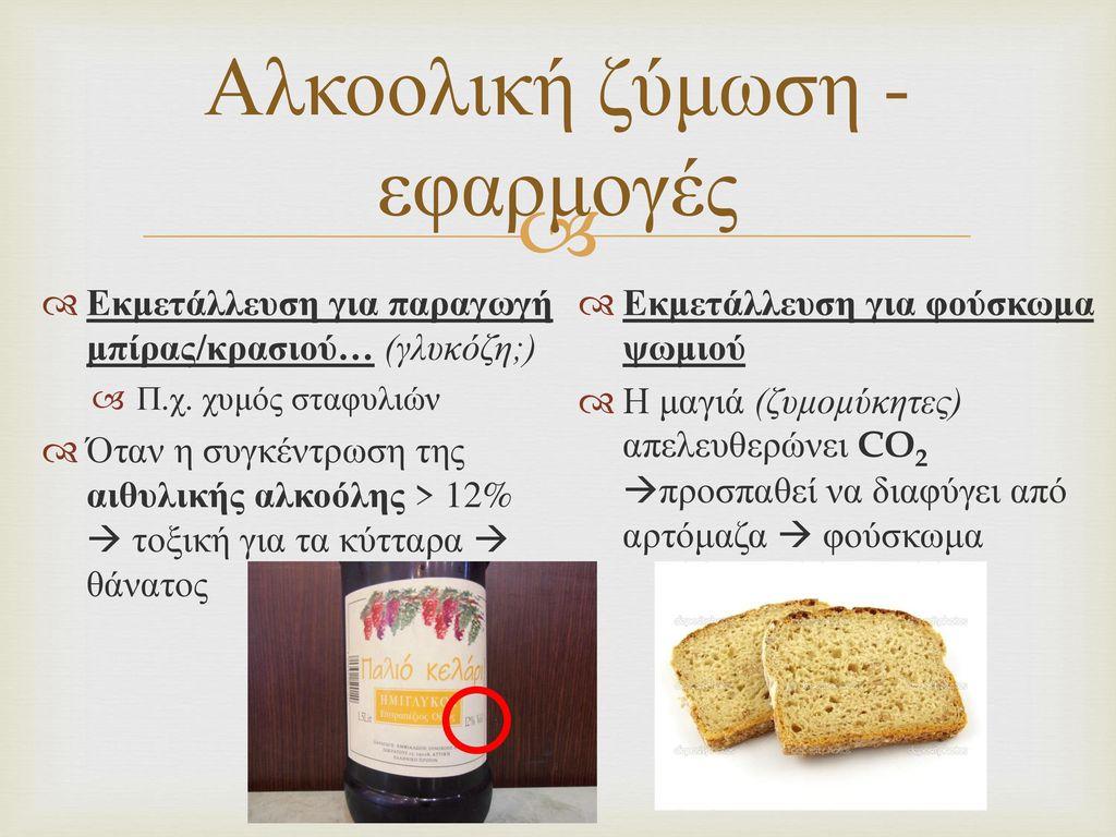 Αλκοολική ζύμωση - εφαρμογές