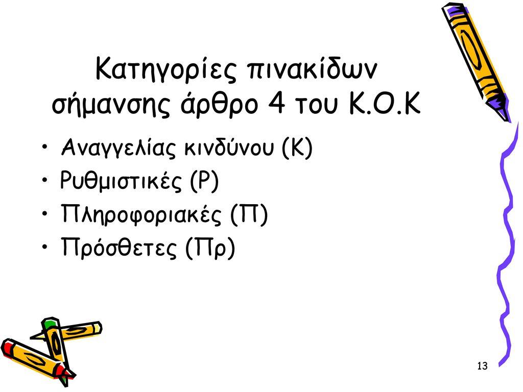 Κατηγορίες πινακίδων σήμανσης άρθρο 4 του Κ.Ο.Κ