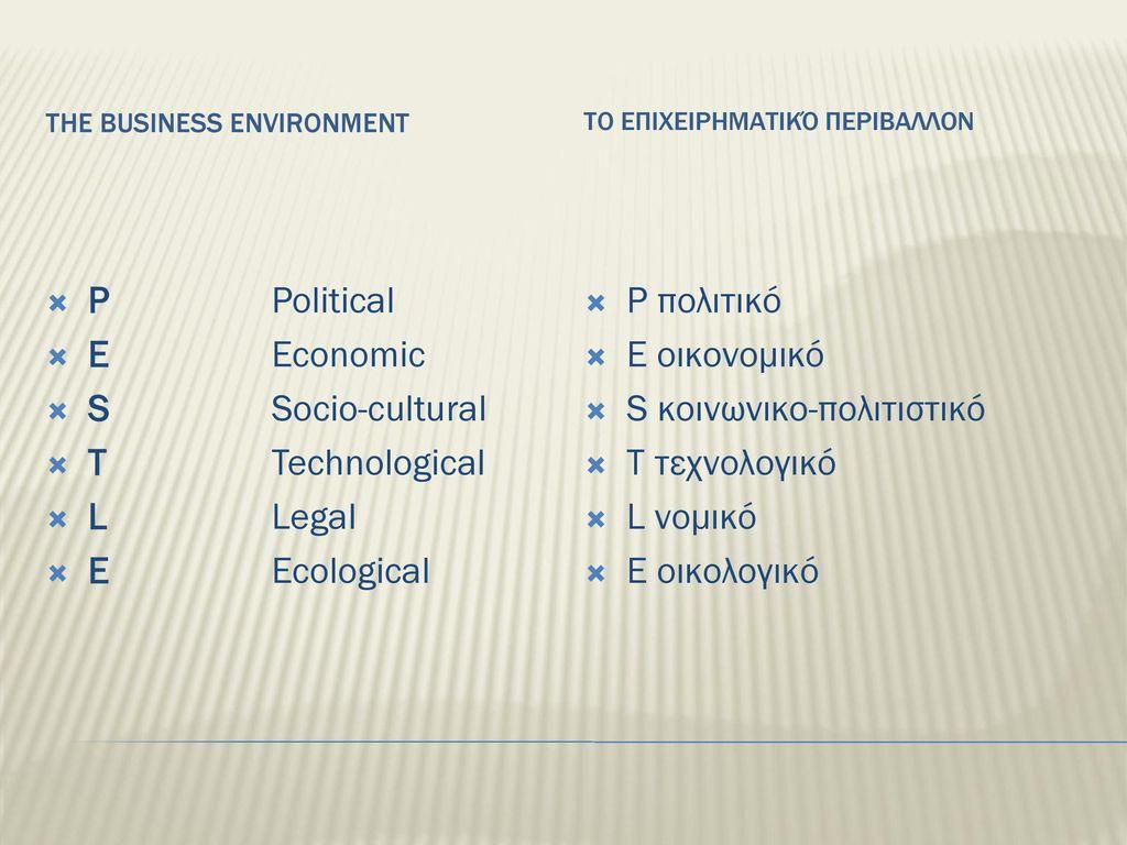 S κοινωνικο-πολιτιστικό T τεχνολογικό L νομικό E οικολογικό