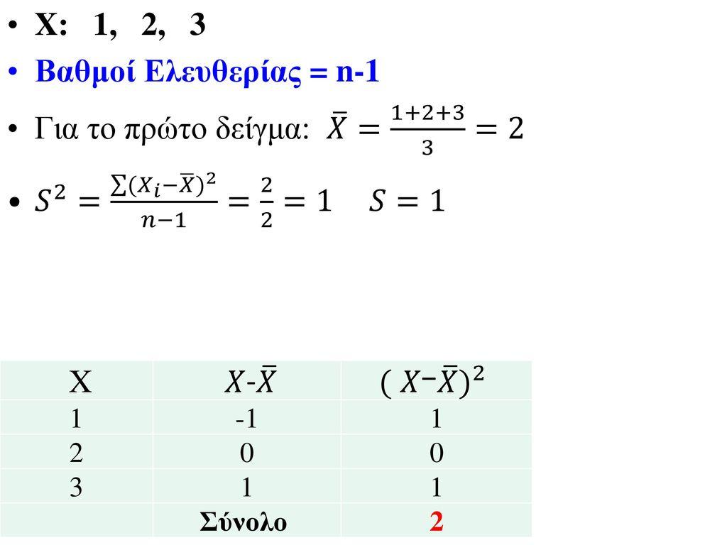 Για το πρώτο δείγμα: 𝑋 = 1+2+3 3 =2