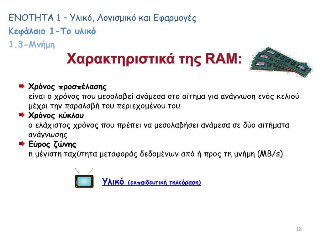 Χαρακτηριστικά της RAM:
