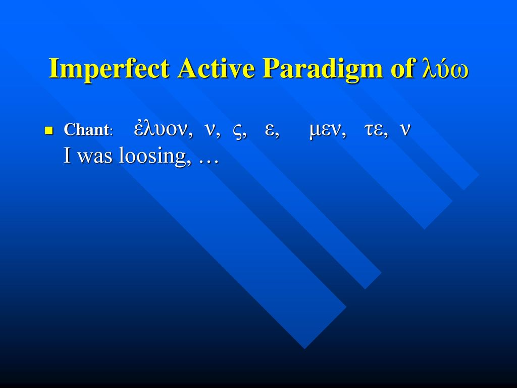 Imperfect Active Paradigm of λύω