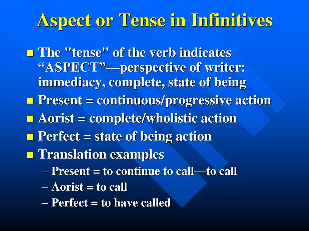 Aspect or Tense in Infinitives