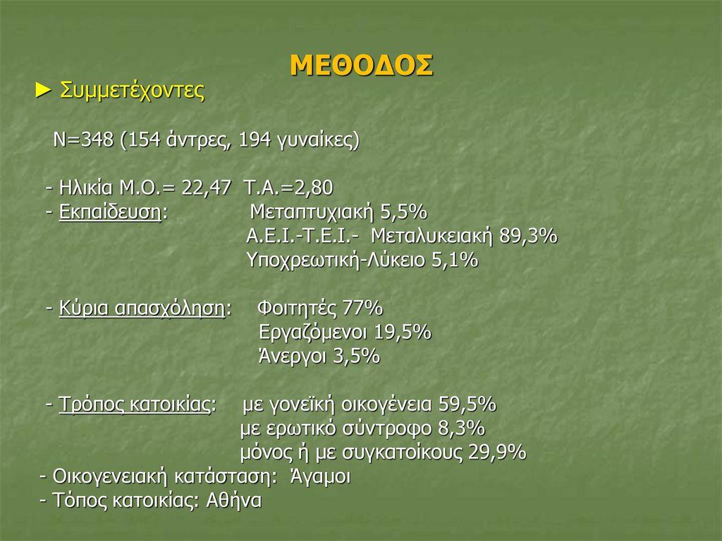 ΜΕΘΟΔΟΣ ► Συμμετέχοντες - Ηλικία Μ.Ο.= 22,47 Τ.Α.=2,80
