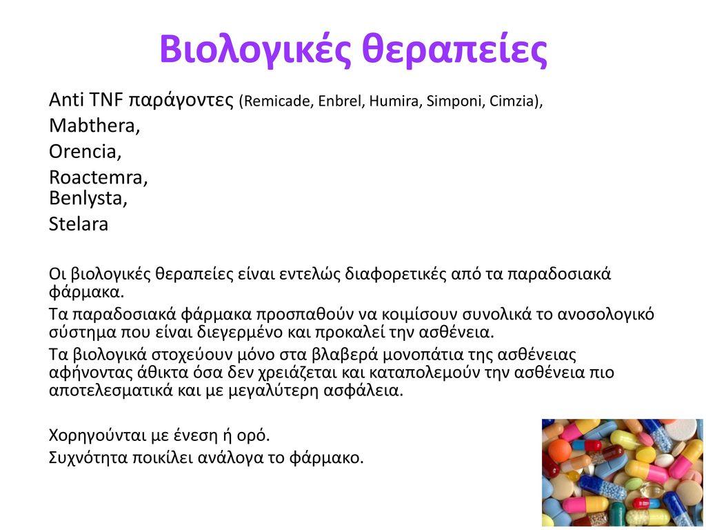 Βιολογικές θεραπείες Anti TNF παράγοντες (Remicade, Enbrel, Humira, Simponi, Cimzia), Mabthera, Orencia,