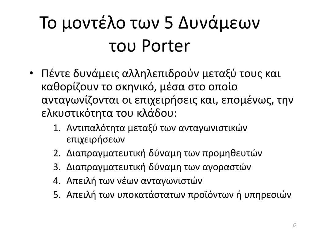 Το μοντέλο των 5 Δυνάμεων του Porter