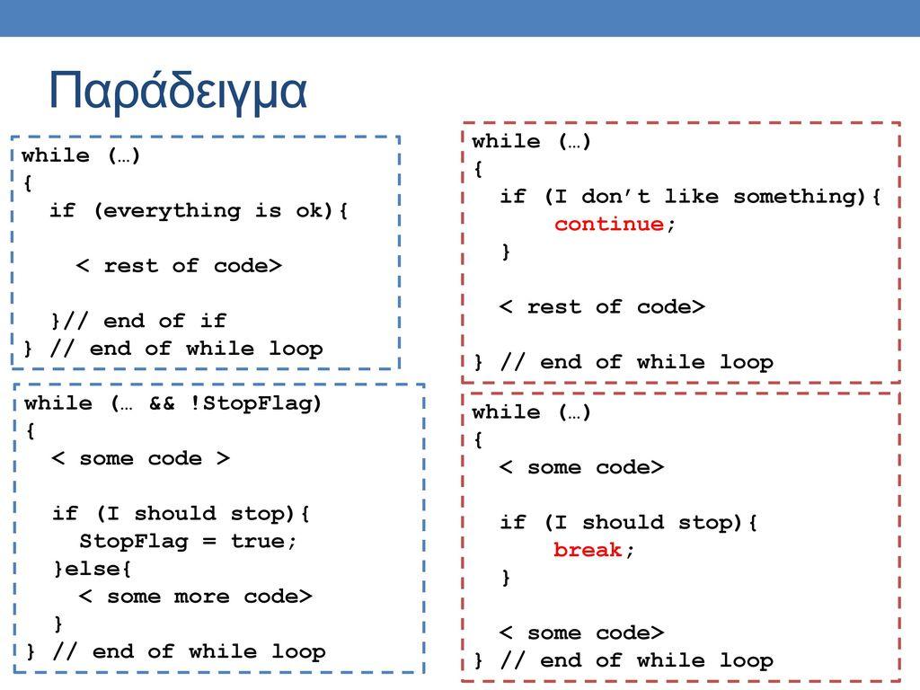 Παράδειγμα while (…) { if (I don't like something){ continue; }