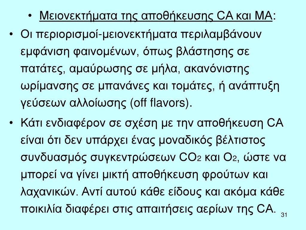 Μειονεκτήματα της αποθήκευσης CA και MA: