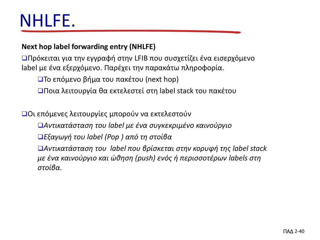 NHLFE. Next hop label forwarding entry (NHLFE)