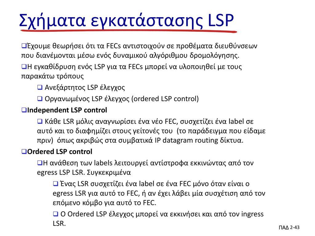 Σχήματα εγκατάστασης LSP