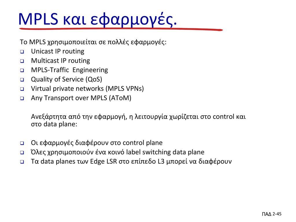 MPLS και εφαρμογές. To MPLS χρησιμοποιείται σε πολλές εφαρμογές: