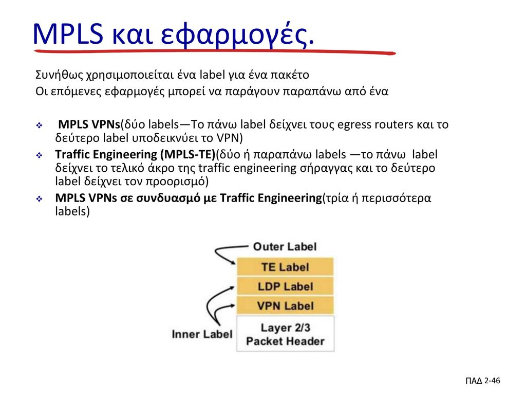 MPLS και εφαρμογές. Συνήθως χρησιμοποιείται ένα label για ένα πακέτο