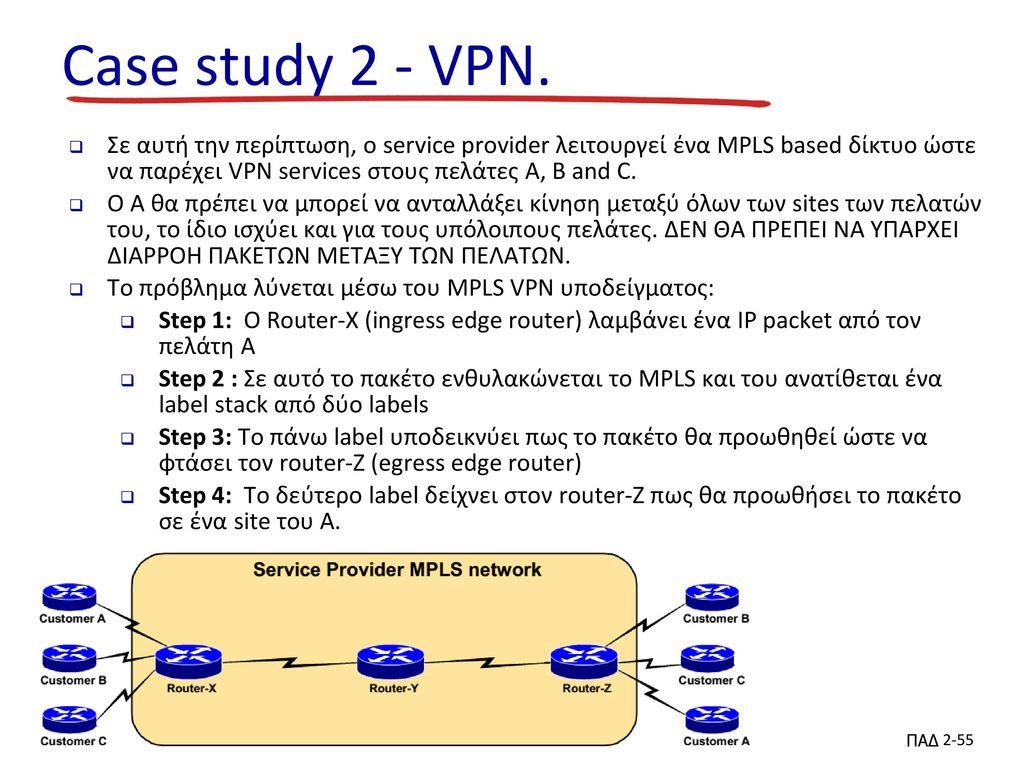 Case study 2 - VPN. Σε αυτή την περίπτωση, ο service provider λειτουργεί ένα MPLS based δίκτυο ώστε να παρέχει VPN services στους πελάτες A, B and C.