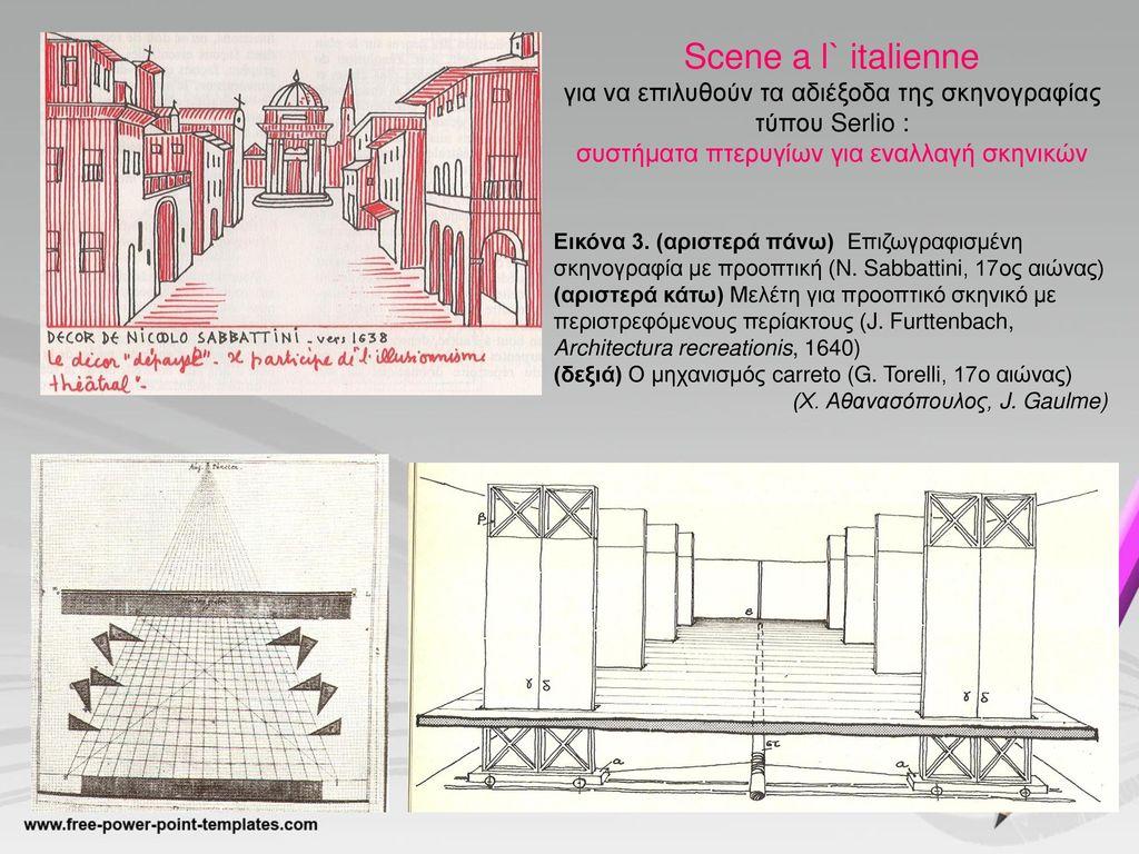 Scene a l` italienne για να επιλυθούν τα αδιέξοδα της σκηνογραφίας τύπου Serlio : συστήματα πτερυγίων για εναλλαγή σκηνικών.