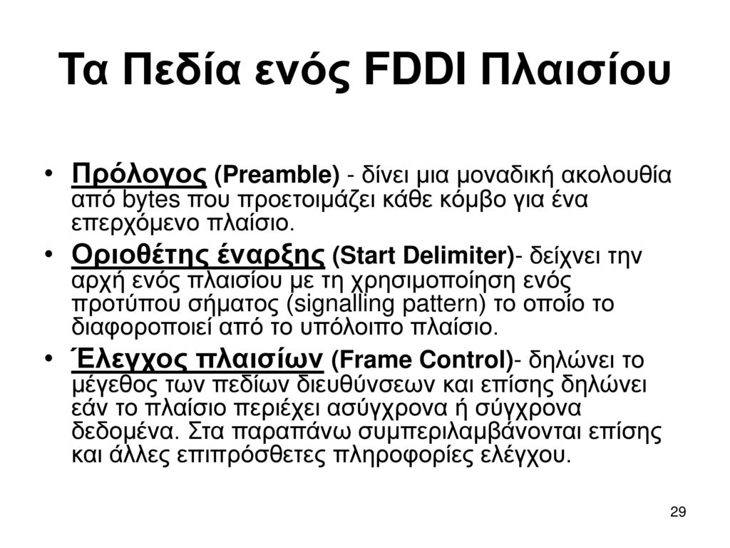 Τα Πεδία ενός FDDI Πλαισίου