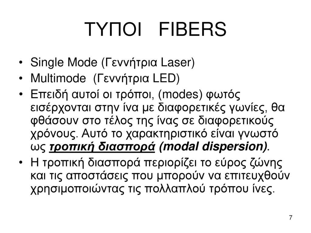 ΤΥΠΟΙ FIBERS Single Mode (Γεννήτρια Laser) Multimode (Γεννήτρια LED)
