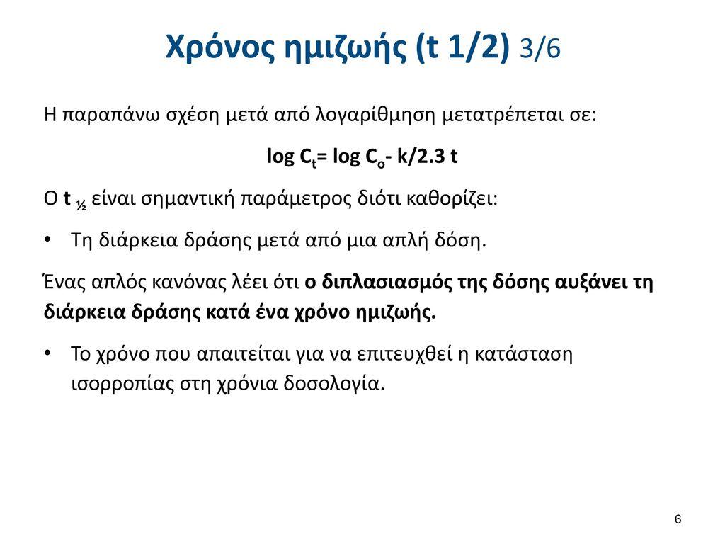 Χρόνος ημιζωής (t 1/2) 4/6