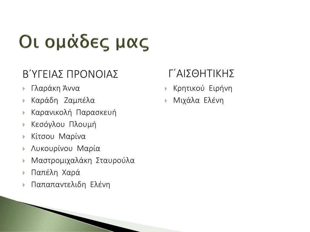 Οι ομάδες μας Β΄ΥΓΕΙΑΣ ΠΡΟΝΟΙΑΣ Γ΄ΑΙΣΘΗΤΙΚΗΣ Γλαράκη Άννα