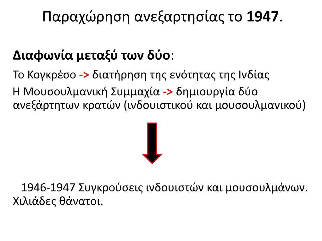 Παραχώρηση ανεξαρτησίας το 1947. Διαφωνία μεταξύ των δύο:
