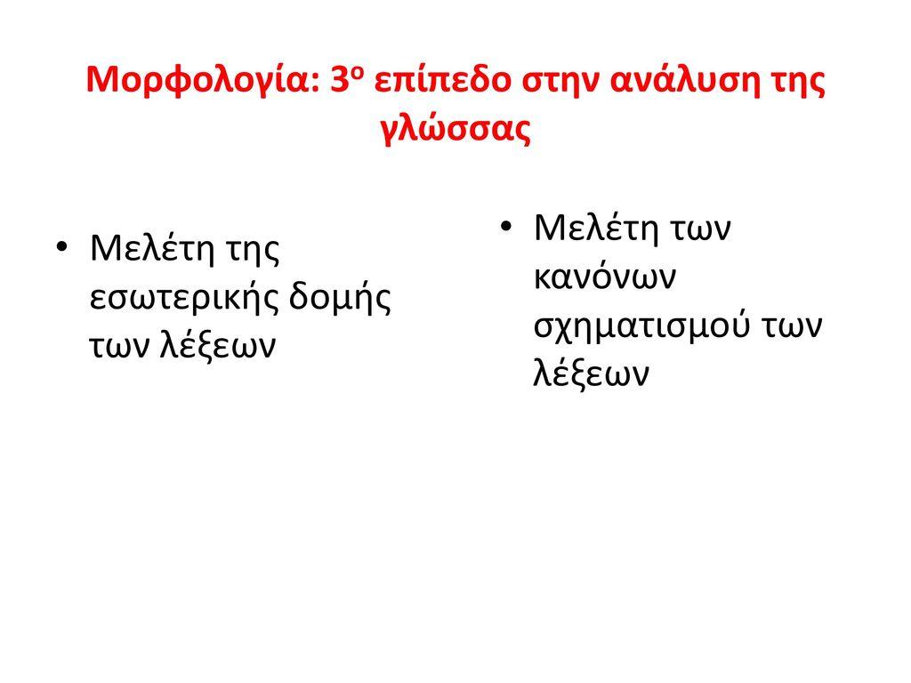 Μορφολογία: 3ο επίπεδο στην ανάλυση της γλώσσας
