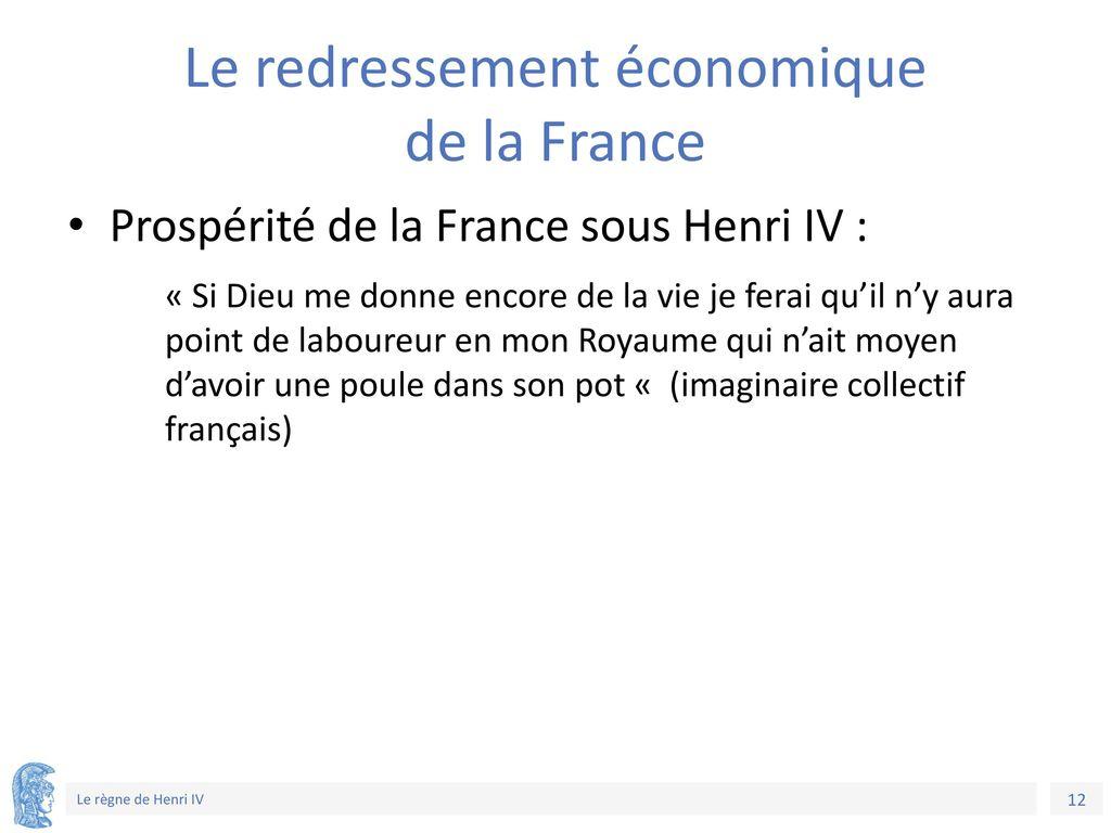 Le redressement économique de la France