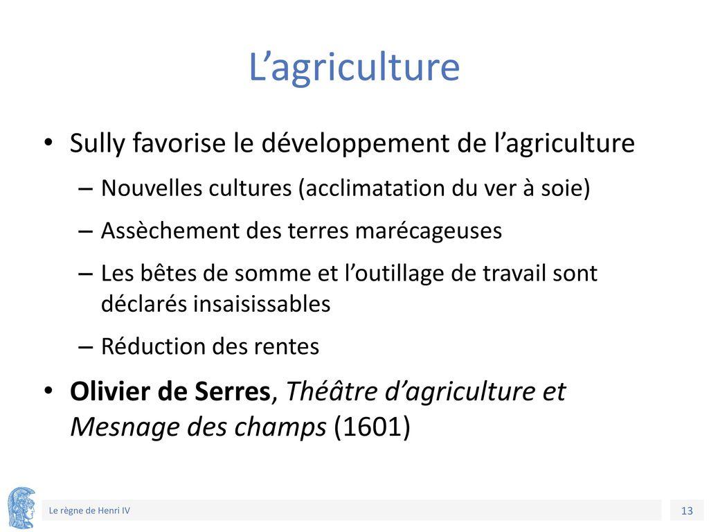 L'agriculture Sully favorise le développement de l'agriculture