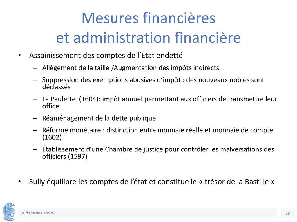 Mesures financières et administration financière