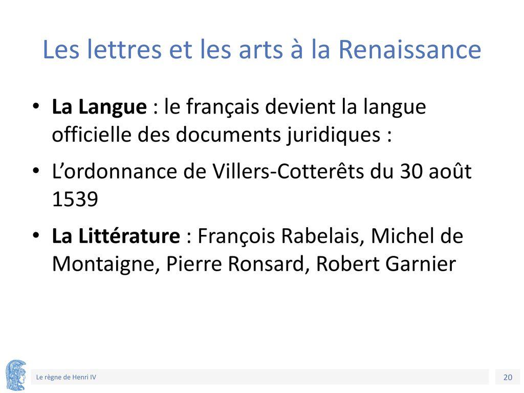 Les lettres et les arts à la Renaissance