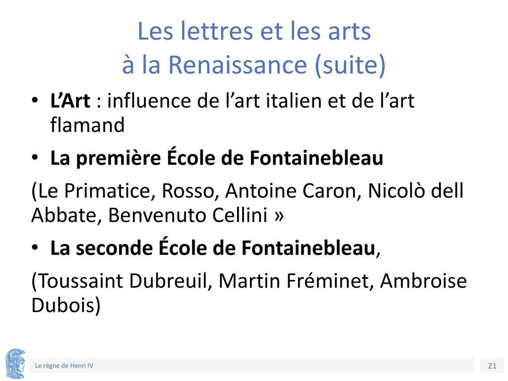 Les lettres et les arts à la Renaissance (suite)