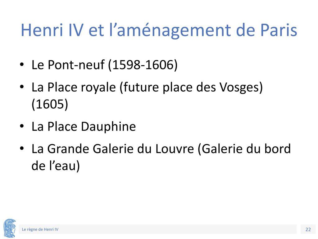 Henri IV et l'aménagement de Paris